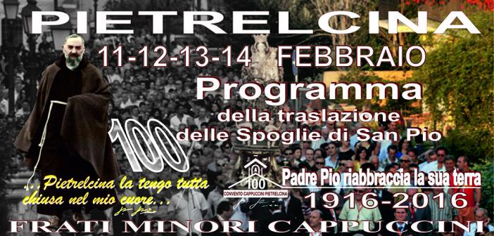 Programma completo dell'arrivo e permanenza di Padre Pio in Pietrelcina