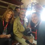 """La carrozza della """"Stampa"""" con i giornalisti Marianna Morante, Francesco Bosco e l'operatore di """"Padre Pio TV"""" Massimo Nocco"""