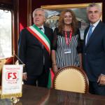 Il sindaco di Pietrelcina, D. Masone, la giornalista M. Morante, il presidente della Fondazione FS, Moretti