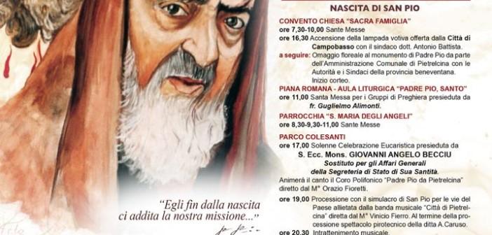 PIETRELCINA 25 MAGGIO – ANNIVERSARIO NASCITA DI PADRE PIO