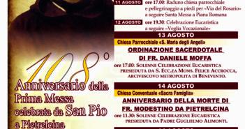 108° ANNIVERSARIO DI ORDINAZIONE DI PADRE PIO